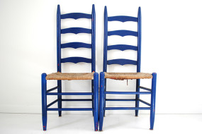 Blue Ladderback Chairs