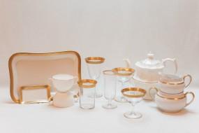 Gold Detailed White China