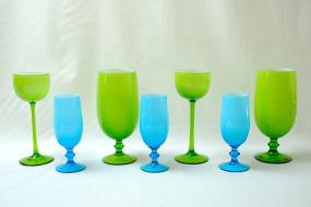 Blue & Green Glassware