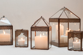 Bronze Detailed Candle Lanterns