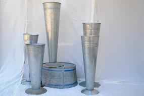 Metal Pedestal Vases