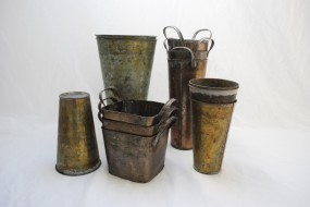 Galvanized Copper Vases and Buckets