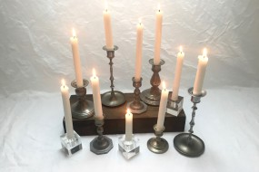 Pewter candlestick holders