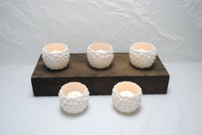 Pinecone Ceramic White Votive