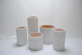 Faux Bois Ceramic Vases
